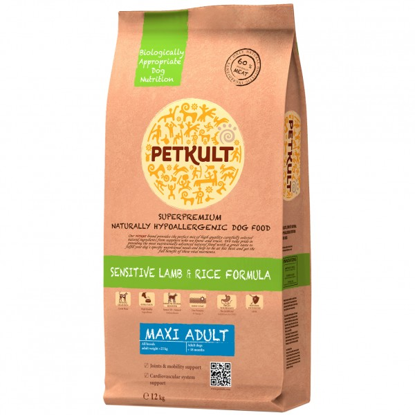 PETKULT SENSITIVE MAXI ADULT LAMB&RICE 12 KG