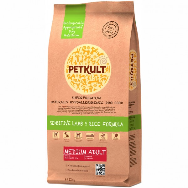 PETKULT SENSITIVE MEDIUM ADULT AMBL&RICE 12 KG