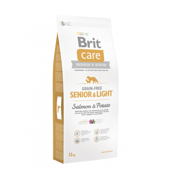 BRIT CARE GRAIN FREE SENIOR & LIGHT SALMON AND POTATO 12 KG.