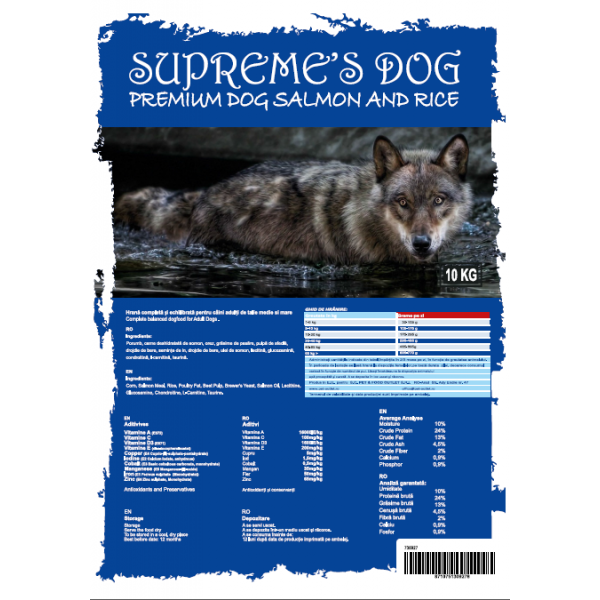 SUPREME'S DOG PREMIUM SALMON & RICE LARGE BREED 10 KG