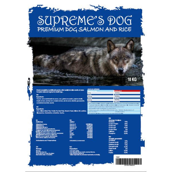 SUPREME'S DOG PREMIUM SALMON & RICE LARGE BREED 15 KG