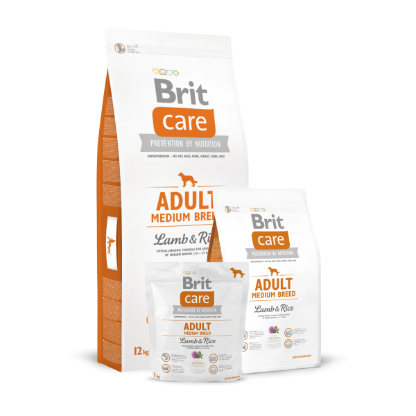 BRIT CARE ADULT MEDIUM BREED LAMB AND RICE 12 KG.