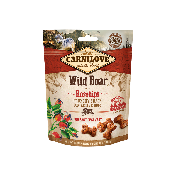 CARNILOVE DOG CRUNCHY SNACK WILD BOAR WITH ROSEHIPS 200 G.