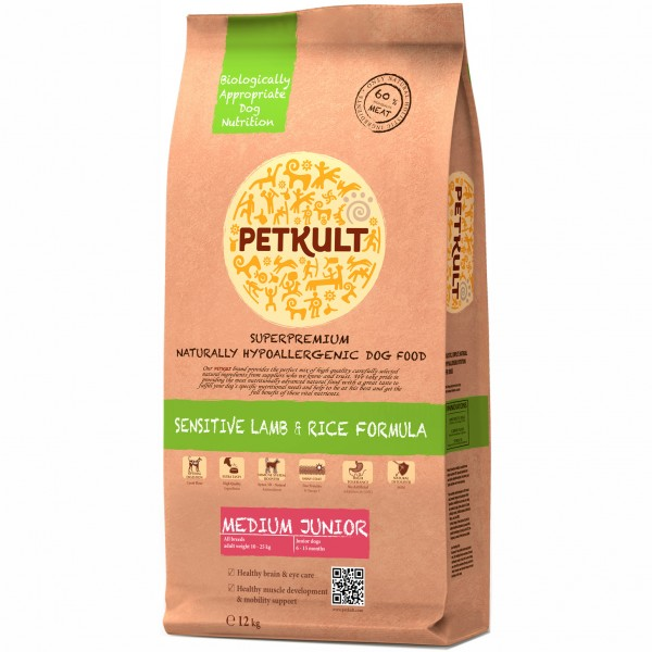 PETKULT SENSITIVE MEDIUM JUNIOR LAMB&RICE 12 KG