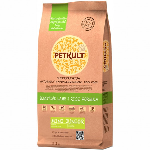 PETKULT SENSITIVE MINI JUNIOR LAMB&RICE 12 KG.