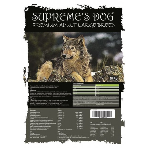 SUPREME'S DOG PREMIUM ADULT LARGE BREED 10 KG.