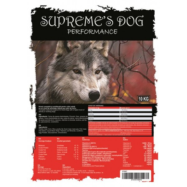 SUPREME'S DOG PREMIUM PREMIUM PERFORMANCE 10 KG.